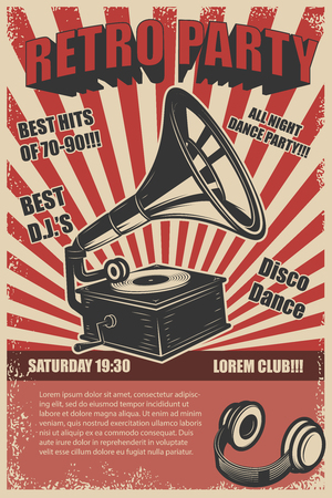 Retro feestje. Vintage grammofoon op grunge achtergrond. Ontwerpelementen voor poster. Vector illustratie