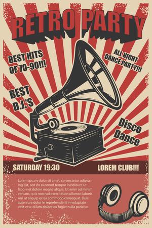 Retro party. Vintage gramophone on grunge background. Design elements for poster. Vector illustration Stok Fotoğraf - 77528699