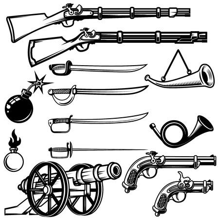 Set of ancient weapon. Muskets, saber, cannons, bombs. Design elements for logo, label, emblem, sign, badge. Vector illustration