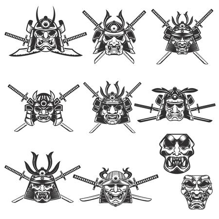 Satz Samurai-Masken und -helme mit Klingen auf weißem Hintergrund. Design-Elemente für Logo, Label, Emblem, Zeichen. Vektor-Illustration Standard-Bild - 77528706