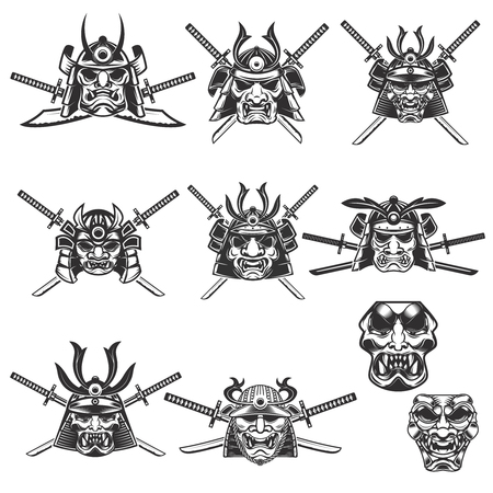 Set of samurai masks and helmets with swords on white background. Design elements for logo, label, emblem, sign. Vector illustration Ilustração