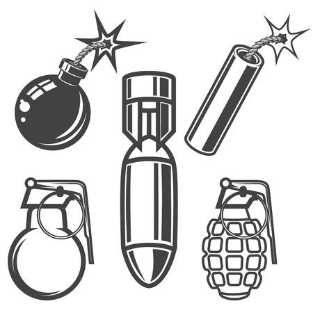 Set of bomb, grenade, dynamite stick illustrations on white background. Vector illustration Illustration