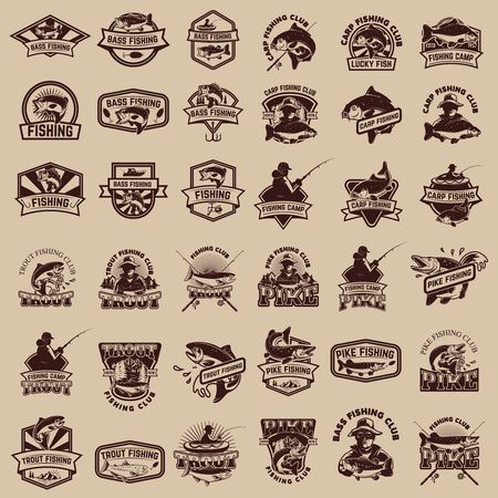 Big set of fishing icons. Carp fishing, trout fishing, bass fishing, pike fishing. Design elements for logo, label, emblem, sign. Vector illustration. Banco de Imagens - 78077250