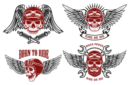 Born to ride. Set of the emblems with racer skulls. Biker club labels. Vector illustrations. Vettoriali