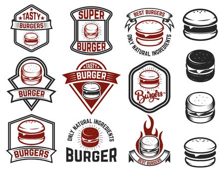 Set of burger labels. Design elements for logo, emblem, menu, sign, poster. Vector illustration Иллюстрация