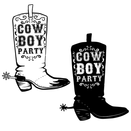 foot gear: Cowboy party. Hand drawn Cowboy boots illustration. Design element for poster, flyer. Vector illustration Illustration