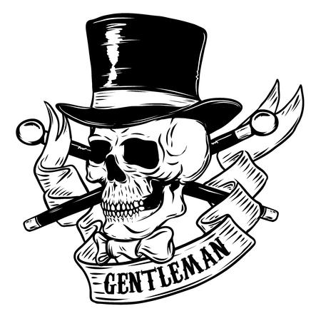 Gentleman. Skull in vintage hat. Design element for poster, t-shirt. Vector illustration