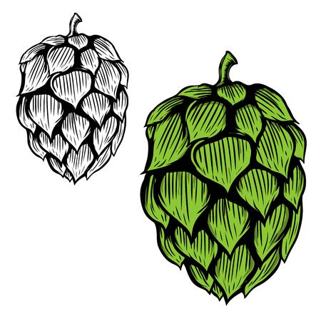 ビールは、白い背景の上の図をホップします。ロゴ、ラベル、紋章、記号の要素をデザインします。ベクトル図
