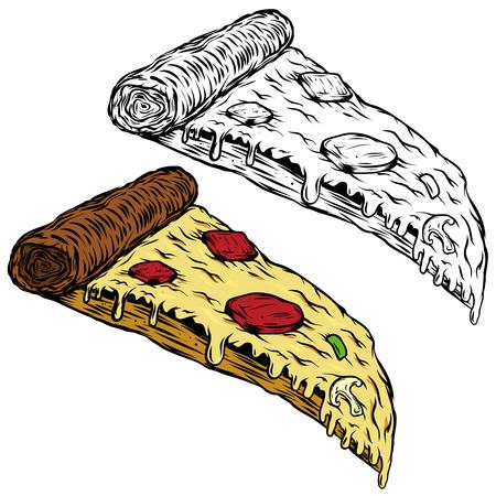 Pizza illustration on white background. Design element for logo, label, emblem, sign, menu. Vector illustration Ilustração