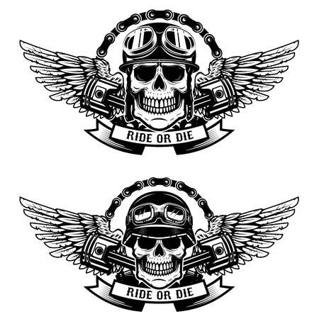 Ride or die. Set of the skulls in racer helmets with wings isolated on white background.  Design elements for emblem, sign, label, t-shirt. Vector illustration Ilustração
