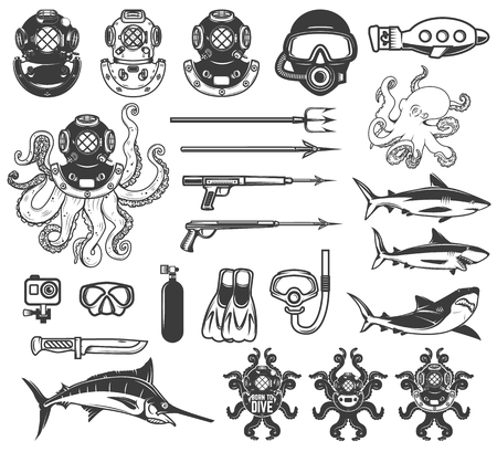 다이빙 아이콘의 큰 집합입니다. 다이버 장비, 무기, 바다 동물. 로고, 레이블, 엠 블 럼, 사인, 포스터, 티셔츠 디자인 요소입니다. 벡터 일러스트 레이