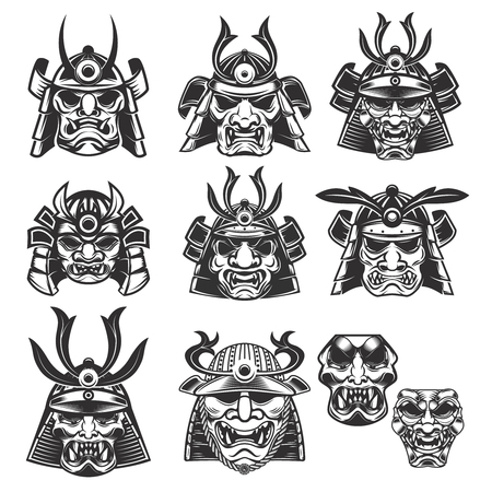 사무라이 마스크와 흰색 배경에 헬멧의 집합입니다. 로고, 레이블, 엠 블 럼, 기호 디자인 요소입니다. 벡터 일러스트 레이 션 일러스트