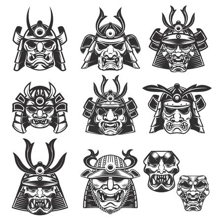 Set van samurai maskers en helmen op een witte achtergrond. Ontwerpelementen voor logo, label, embleem, teken. Vector illustratie