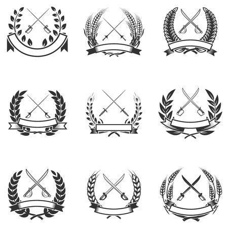Set of the wreaths with swords. Design elements for logo, label, emblem, sign, badge. Vector illustration Illustration