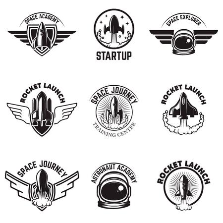 Set of Space labels. Rocket launch, astronaut academy. Design elements for logo, label, emblem, sign. Vector illustration