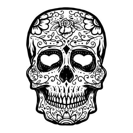 手には、白い背景で隔離の砂糖頭蓋骨が描かれました。死者の日。ポスター、t シャツのデザイン要素です。ベクトル図