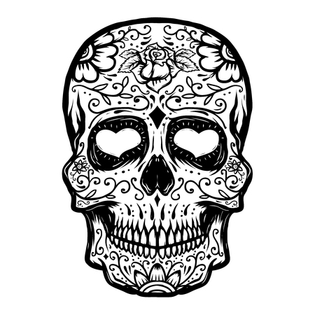 Hand drawn Sugar skull isolated on white background. Day of the dead. Design element for poster, t-shirt. Vector illustration