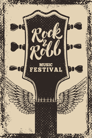 rock and roll festival poster template. Guitar with wings on grunge background. Vector illustration Illustration