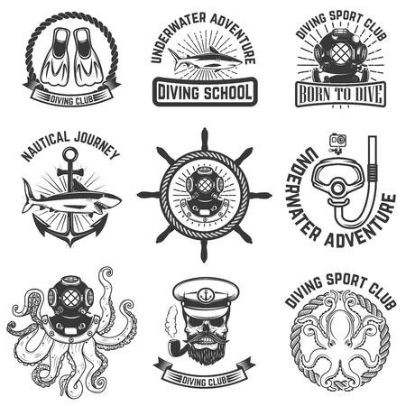 deep sea diver: Set of scuba diving club emblems. Design elements for logo, label, emblem, sign. Vector illustration