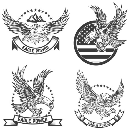 Set of coat of arms with eagles. Design elements for logo, label, emblem, sign. Vector illustration