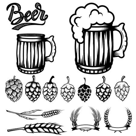 Satz von Komponenten für Bier Etiketten Design. Bierbecher, Hopfen, Weizen. Vektor-Illustration Standard-Bild - 78580852