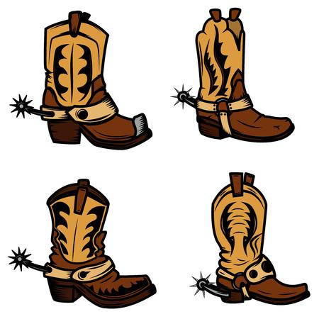 Set of the cowboy boots illustrations. Design elements for logo, label, emblem, sign, badge. Vector illustration Illustration
