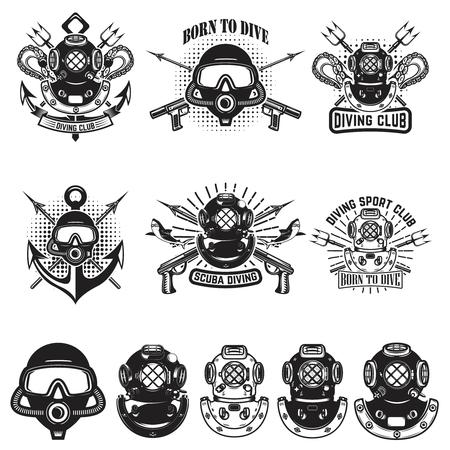 Set of vintage dive helmets. Diver emblems. Diver weapon. Vector illustration