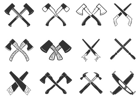 交差した大工道具のセットです。ロゴ、ラベル、紋章、記号、バッジのデザイン要素です。ベクトル図  イラスト・ベクター素材