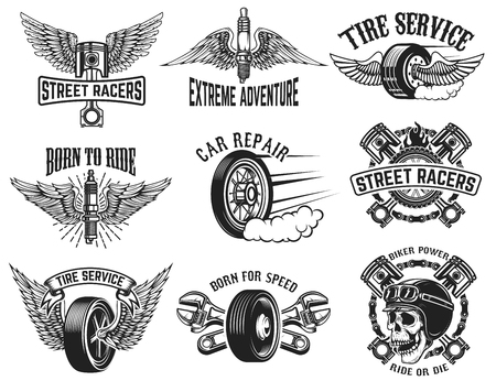 Set of tire service, car repair labels. Design elements for logo, emblem, sign, badge. Vector illustration