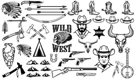 Grande conjunto de ícones ocidentais selvagens. Vaqueiros, índios, arma vintage. Elementos de design para o logotipo, etiqueta, emblema, sinal, distintivo. Ilustração vetorial