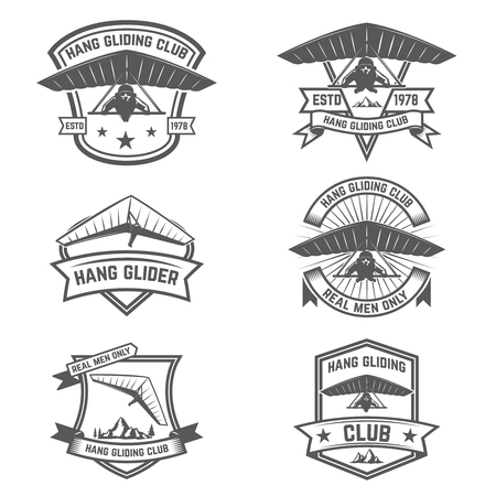 Hang gliding club emblems design elements for label, badge and sign. Illustration