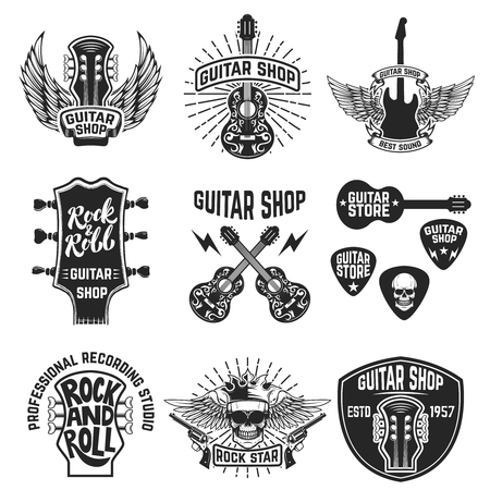 Set of guitar store emblems