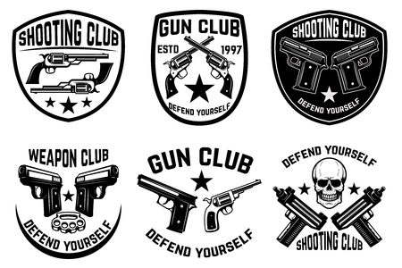 Set of weapon club, gun shop emblems. Illustration