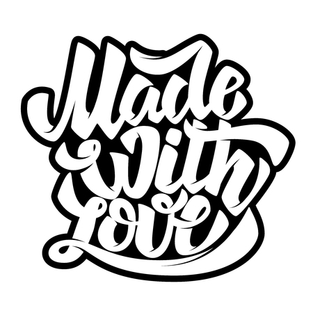 Made with love Lettering phrase Illustration