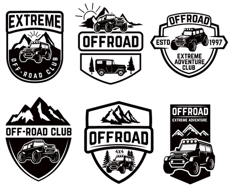 Set of four off-road suv car emblems. Extreme adventure club. Vector illustration Vectores