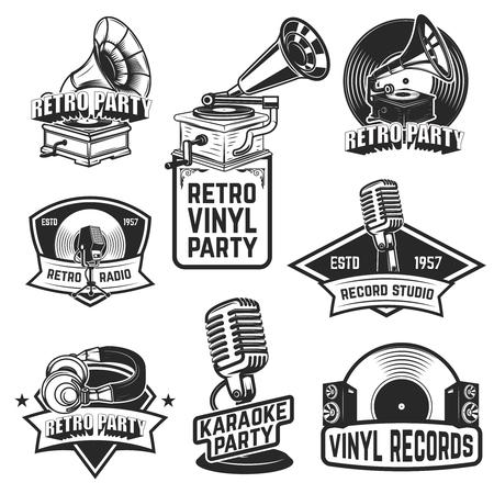 Set of retro party emblems Vettoriali