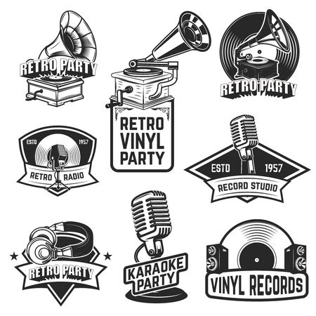 Set of retro party emblems Çizim