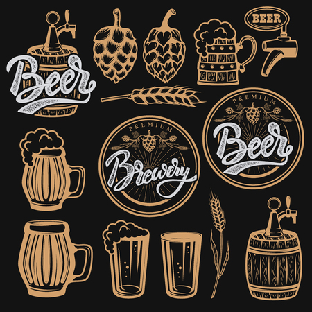 Set of elements for beer labels design. Beer mugs, hop, wheat. Vector illustration.