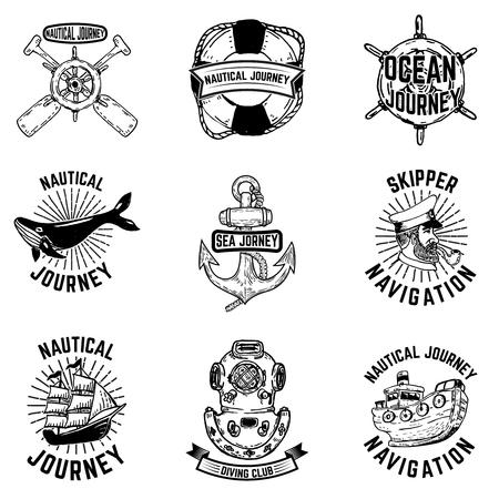 Conjunto de emblemas náuticos dibujados a mano. Elementos de diseño para logotipo, etiqueta, signo, insignia. Ilustración vectorial Logos