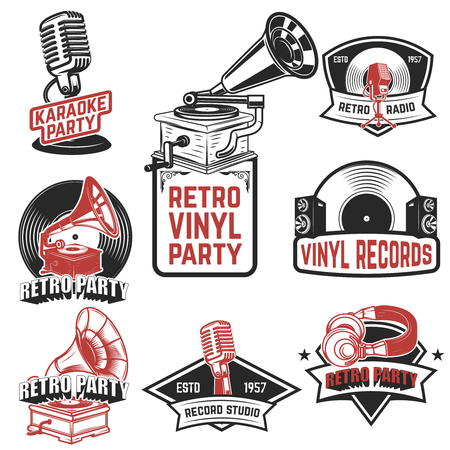 Set of retro party emblems Ilustrace