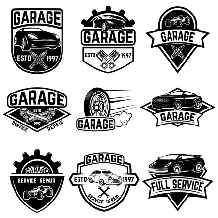 Set of vintage car service labels. Design elements for logo, label, emblem, sign, badge. Vector illustration Çizim