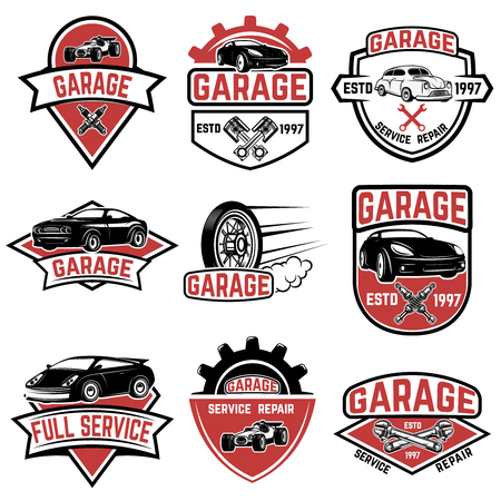 Set Of Tire Service Car Repair Labels Pistons Car Wheels