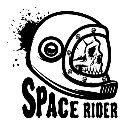 Space rider. Human skull in spaceman helmet. Design element for poster, t-shirt. Vector illustration