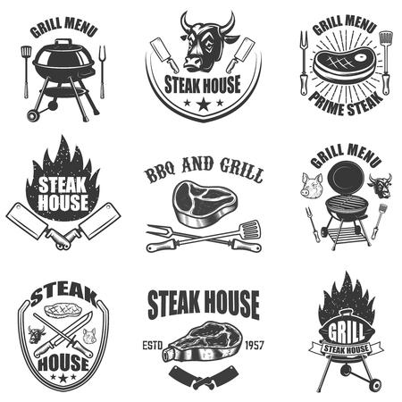 Set of steak house labels. BBQ and grill. Design elements for logo, label, emblem, sign, badge. Vector illustration