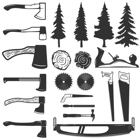 Set van timmerman tools, hout en bomen pictogrammen. Ontwerpelementen voor logo, label, embleem, teken. Vector illustratie Stock Illustratie