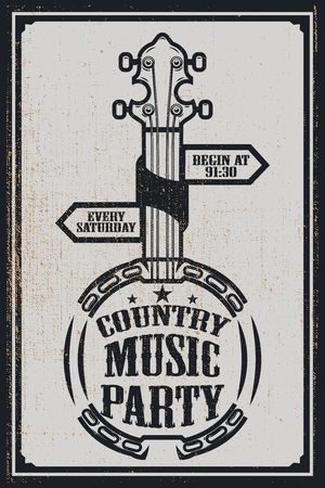 ?ountry music party poster template. Vintage banjo on grunge background. Vector illustration