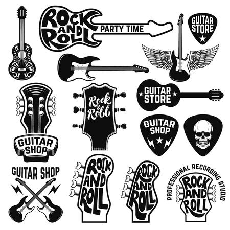 Guitar store labels and design elements. Design elements for logo, label, emblem, sign, poster. Vector illustration Иллюстрация