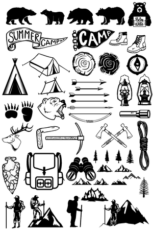 Hiking, summer camp emblems and design elements. Mountains, bears, tourists, lamps. Design elements for logo, label, emblem, sign. Vector illustration