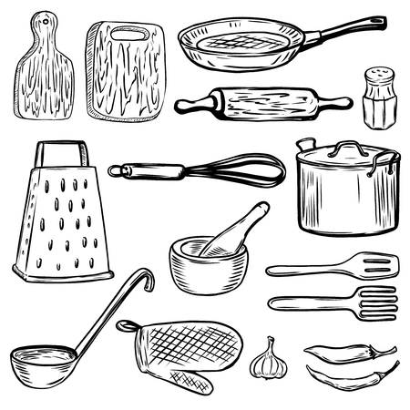 Set of hand drawn kitchen tools. Design elements for menu, poster. Vector illustration