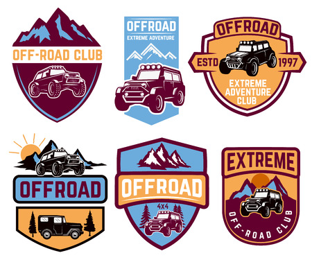 Set of four off-road suv car emblems. Extreme adventure club. Vector illustration Ilustrace